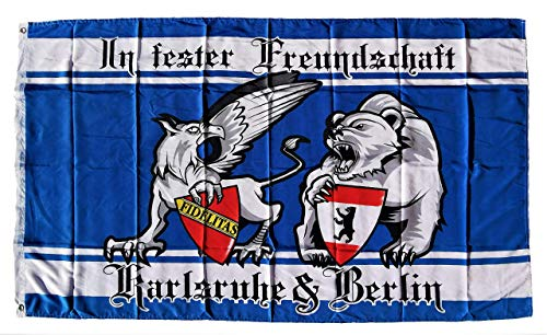 Generisch Freundschaftdfahne Karlsruhe-Berlin, Fahne Karlsruhe Fahne, Fahne Berlin Fahne