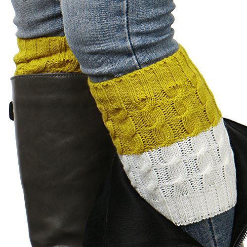 ililily Women Cable Knit Ribbed Boot Cuffs Socks Topper Liner Crochet Warmers, Yellow White Color Block