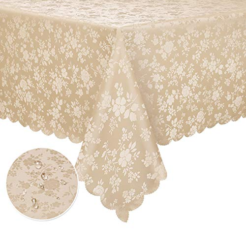 "Locika Washable Vinyl Tablecloth Easy Care Dinning Tablecloth Rectangle Heavy Duty Plastic Tablecloth Waterproof Spillproof Vinyl Tablecloth (Beige, 60"" X 84″ Rectangle/Oblong)"