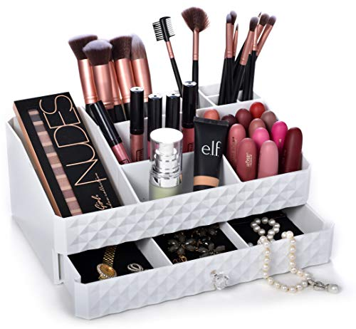 Cosmetic Storage Box Organizer - Compartments to Organize and Store Your Cosmetics Makeup and Accessories Drawer with Padding to Protect Jewelry Will Sit Neatly on Vanity or Bathroom Countertop