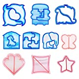 10 Pcs Cookie Cutter Set for Kids and Parents, Sandwich and Bread Crust Cutters of Various Kinds- Butterfly, Dinosaur, Elephants, Dog, Car, Dolphin, Square, Heart, Star in 10 Cute Shapes