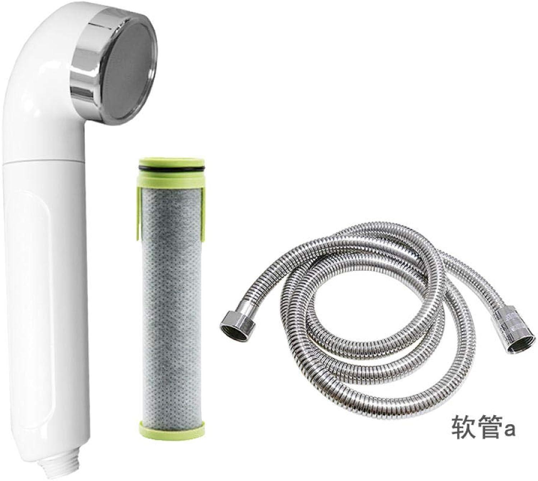 Zqwops Handbrause und Brauseschlauchset, 3-fach verstellbarer Hochdruck-Brausekopf Chrom mit Stopptaste (wei) und 1,5 m langem, explosionsgeschütztem Rohr