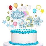 Decoración para tarta de cumpleaños, decoración de 2 cumpleaños, estrellas azules, adecuada para...