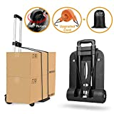 Folding Hand Truck 4 Wheel-roate 75 Kg/165 lbs Heavy Duty Solid Construction Utility Cart Compact and Lightweight for Luggage/Personal/Travel/Auto/Moving and Office Use