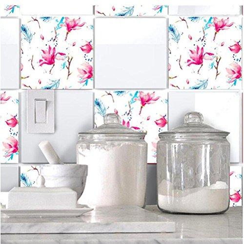 MINRAN DECOR BJ Art de tuiles Mural - Adhésif carrelage   Sticker Autocollant Carrelage - Mosaïque carrelage Mural Salle de Bain et Cuisine   - 20x20 cm - 10 pièces TS012