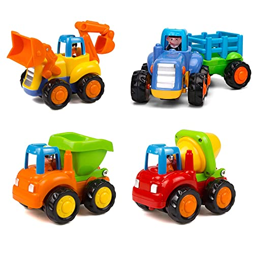 Friction Powered Cars Push and Go Trucks Construction Vehicles Toys Set of Tractor Bulldozer Dump Truck Cement Mixer for Baby Toddlers Infants Boys Gifts