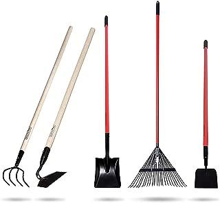 GardenAll 5-Piece Garden Tools Set - Include Shovel/Rake/Cultivator/Hoe/Sidewalk Scraper with Long-Handle - Super