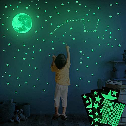 Adesivos de parede Lua que brilham no escuro, 282 peças adesivos brilhantes e realistas de estrelas e pontos e lua cheia para decoração de parede céu estrelado, decoração brilhante para meninas e meninos lindos decalques de parede