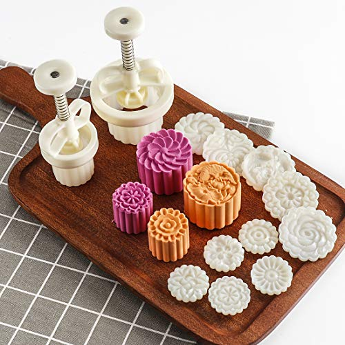 5pcs 35g Cookie Stamps + 5pcs 83g Cookie Press Mooncake Mold Set, Thickness Adjustable DIY Decoration Hand Press Cutter Cake Mold