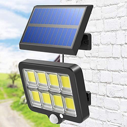 LED Solar Bewegungsmelder Außen, T-SUN Solarlampen für Außen mit Bewegungsmelder, IP65 Wasserdichte, 120° Superhelle Strahler Außen 5M Kabel olarleuchten LED Solarleuchte für Garten, Hof(6000K)