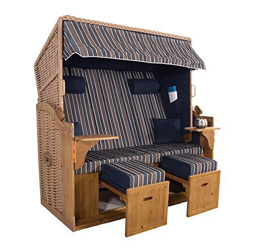 XXL 2,5-Sitzer Natur Strandkorb Hörnum (als Bausatz, Blau-Braun-Blau Blockstreifen)