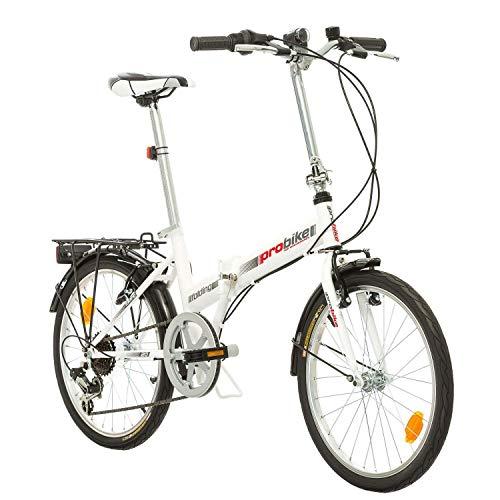 Multibrand, PROBIKE Folding 20 Carrier, 20 Pollici, 310 mm, City Bike Pieghevole, 6 velocità, Unisex, Anteriore + Posteriore Mudgard, Shimano, Bianco