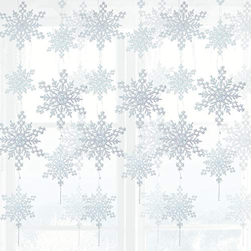 BANBERRY DESIGNS White Snowflake Garlands - Set of 12 Strands of Glittery Snowflakes - 6 Large Glitter Snow Flakes on Each String- Winter Window Decor