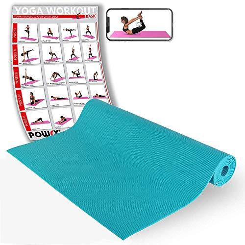 POWRX Yogamatte I Gymnastikmatte rutschfest, hautfreundlich I Ideal für Yoga Pilates Fitness Kraft Training (Türkis)