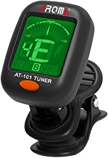 Aroma Clip-on Tuner for Guitar,Ukulele,Bass,Violin,Mandolin,Banjo,Chromatic Tuning,Large Clear Colorful LCD Display for Guitar Tuner,Chromatic Tuner,and Auto power off Tuner(WITH 4 PADDLE)