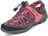 Sandalias de senderismo de verano para hombre y mujer, con cierre de velcro, color Rojo, talla 38 EU