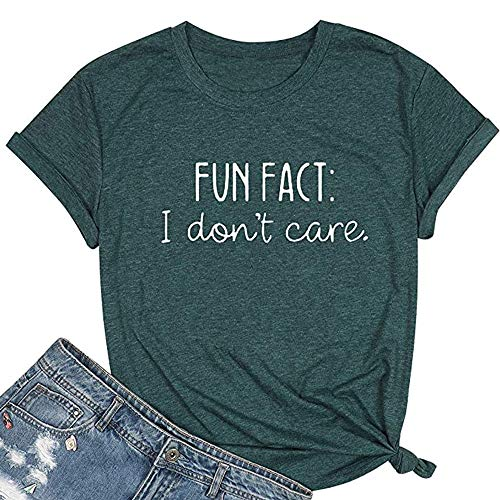 Calvin Fun Fact l Don't Care Letter Print T-Shirt for Women Funny Sayings Graphic Tees-M Green