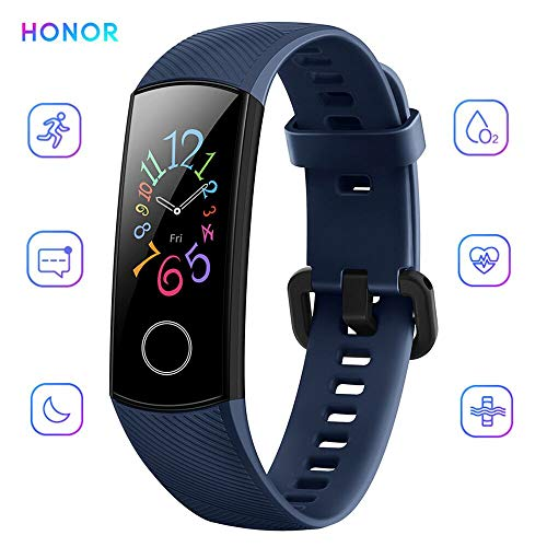 Honor Band 5 Activity Tracker 0,95' Schermo AMOLED a Colori 50M Waterproof Heart Rate Monitor Wristbands Bracelet per Diverse modalità Sportive (Blu)