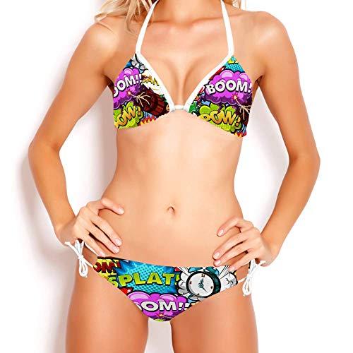 TIZORAX Boom Bubble Rocket Wecker Gang Triangle Bikini Set Badeanzug Sexy Badeanzug für Frauen Mädchen, L Gr. M, mehrfarbig