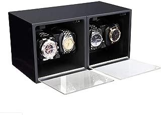 4 + 0 Reloj automático Winder Motores silenciosos Caja Almacenamiento Madera Hecha a Mano Pintura Piano Negro Brillante Antimagnético-30 × 16 × 15.5CM