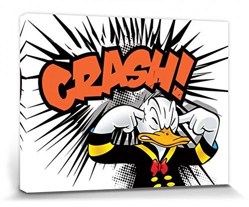 1art1 Donald Duck - Crash Bilder Leinwand-Bild Auf Keilrahmen | XXL-Wandbild Poster Kunstdruck Als Leinwandbild 80 x 60 cm