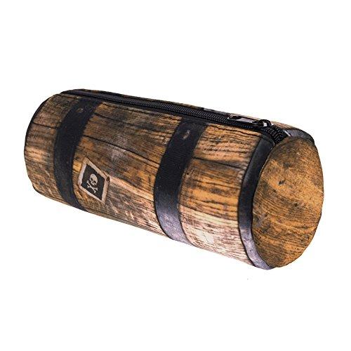 ペンケース ペンポーチ 文具ケース 筆箱 筒形 大容量 小物入れ 軽量 防水 携帯用 ユニコーン かわいい 多機能 カード入れ (ブラウン)
