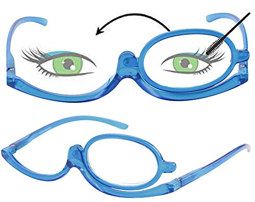 SOOLALA 2 Pack Womens Magnifying Eye Make Up Spectacles Flip Down Lens Folding Cosmetic Reading Glasses, 2Blue, 1.5
