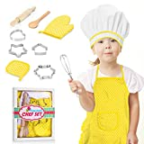 ATOPDREAM Kids Apron 11 Pcs Kids Cooking Supplies Includes Baking Set Chef Hat and Apron for Girls, Fun Gifts for Girls Age 3-10 Educational Toys Birthday, Yellow