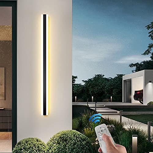 Extérieures LED Terrasse Appliques Avec Télécommande Dimmable, Moderne Étanche Longue Barre Lumineuse Noire Métal Acrylique 3000K-6500K Salle De Bains Salon Escalier Éclairage Extérieur IP65,120cm