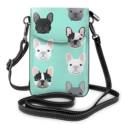 Lightweight PU Leather Cell Phone Purse French Bulldog Small Crossbody Bags Shoulder Bag Wallet Pounch Handbag for Women