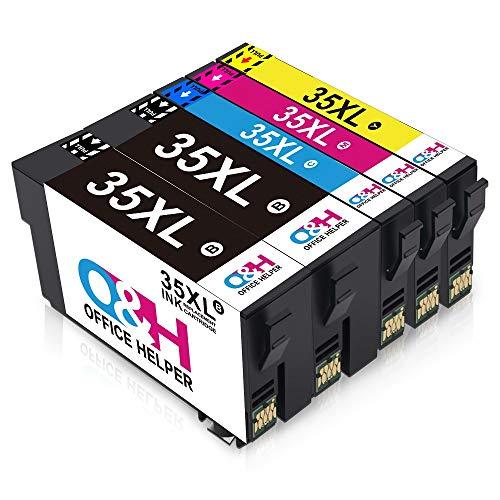 OfficeHelper 35 35XL Cartucce di Inchiostro Compatibili, Inchiostri compatibili per Epson WorkForce Pro WF-4740 4730DTWF 4725 4720DWF, Multipack da 5 (2 nero 1 ciano 1 magenta 1 giallo)
