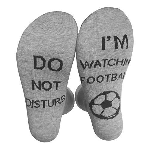 Himozoo 'Do Not Disturb I'm Watching Football or Rugby' Socks Novelty Funny Socks for Men Women Rugby Lovers Gifts (Grey-football)…