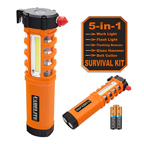 Multi-Function LED Work Light, Essential 5-in-1 Car Escape Tool, Life Saving Survival Kit: Seatbelt Cutter, Hammer Breaker, Worklight, Flashlight, Flash Beacon, Magnetic Base (Batteries Included)