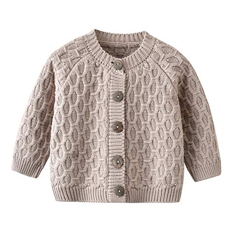 UnisexBaby Infant Girls Boys Lovable Cable Button up Sweater Cardigan Tops White Grey AutumnWinter Pink 80 1218M