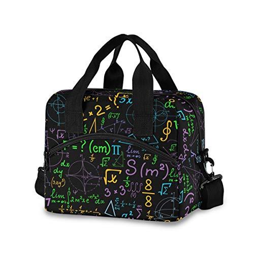 Math - Bolsa de almuerzo con pizarra para mujeres y hombres, bolsa de almuerzo aislada con correa de hombro desmontable y asa de transporte, bolsa reutilizable para el trabajo, escuela, picnic