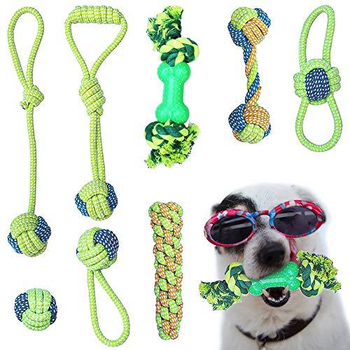 AMAYGA (8 Piezas) Cuerda de Juguete para Masticar para Perros, Juguetes de dentición,Juguetes para Perros pequeños a medianos,Juego de Juguetes para Perros Herramientas de Entrenamiento