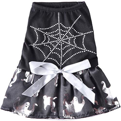VILLCASE 1 Pieza Disfraz de Mascota de Halloween Divertido Tela de araa Fantasma patrn Falda para Perro Suministro para Mascotas- Suministros de Mascotas