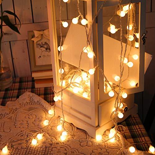 Łańcuch świetlny LED, 6 m 50 diod LED globus 8 trybów wodoodporne zasilane bateryjnie ciepłe białe światło bajkowe na imprezę, pawilon, wakacje ślub sypialnia wewnątrz i na zewnątrz zasilanie bateryjne