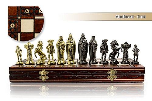 Juego de ajedrez Medieval Cromado Tablero de ajedrez de Madera de 16 'con Adornos y Piezas de plástico Cromado lastradas ... (Oro Medieval)