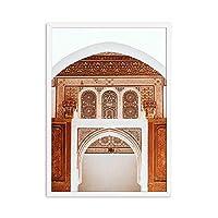 モロッコのドアのポスターと版画文化の建物の風景キャンバスの絵画リビングルームの家の装飾のためのアートパノラマの絵60x90cmx1フレームなし
