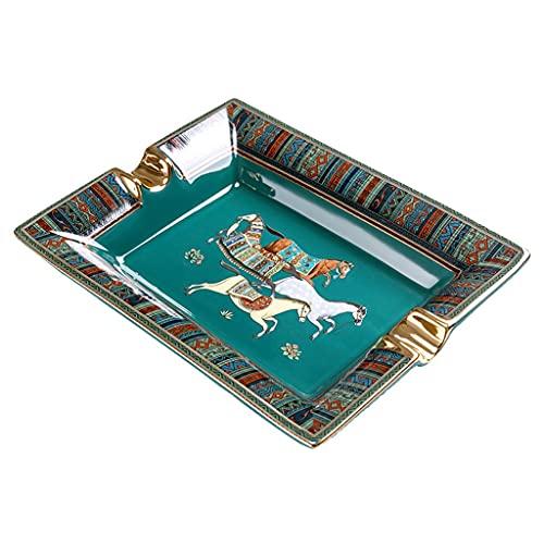 Portable Ashtrays Ceniceros Cenicero de cigarros cenicero Retro de Muebles para el hogar Pintado a Mano con cenicero Dorado y empaque de Caja de Regalo
