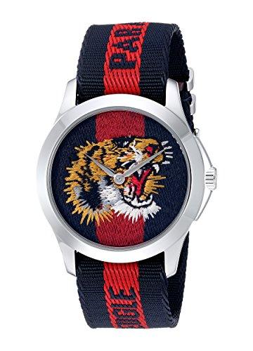 Gucci Reloj Análogo clásico para Unisex de Cuarzo con Correa en Nailon YA126495