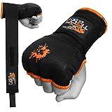 Guantes de boxeo Tigon con vendaje de algodón e interior de gel para MMA (negros), color negro, tamaño Large