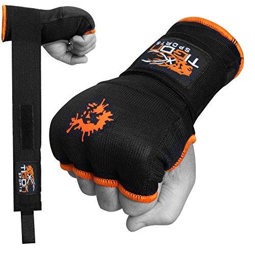 Tigon, guanti interni da boxe in gel, bende per avvolgere le mani, per arti marziali miste (nero), Black