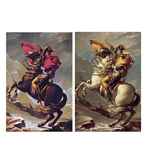 Non-branded MuzimuziliNapoleón Bonaparte Caballo Retrato Pintura sobre Lienzo Arte Carteles E Impresiones Escandinavo Cuadro De Pared para Decoración De La Sala De Estar-60X80Cmx2Pcs Sin Marc