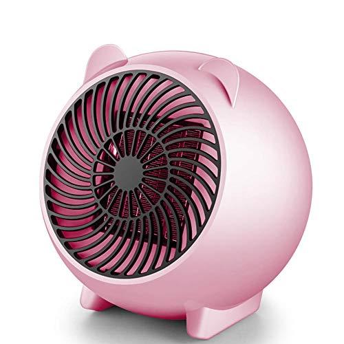 SJTL Calefactor Portátil Eléctrico,PTC Elemento de Cerámica Ventilador Calefactor de Aire Caliente, Mini Calefactor Ventilador, Protección contra Sobrecalentamiento para Oficina,Rosado