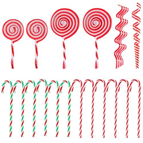 MEWTOGO 18 Pcs Christmas Lollipop Ornaments & Candy Cane Ornaments Set- 4 Styles Fake Plastic Hanging Christmas Tree Candy Ornaments for Xmas Holiday Winter Birthday Wedding Party Decor
