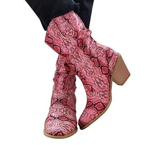 DNOQN Chelsea Damenstiefel GefüTtert Cowboystiefel Mode Schlangenkorn Runde Zehe Schlüpfen Stiefel Square Heels Vintage Stiefel Pink 36