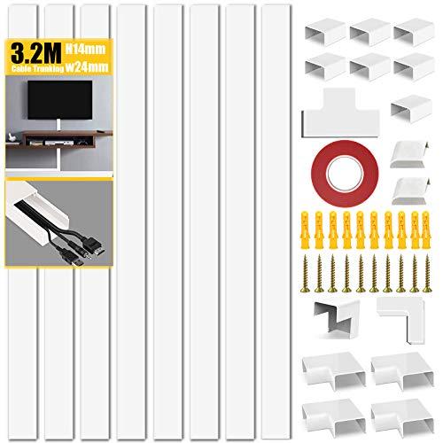 Conducto de Cable | Ocultar Cables | Conductos eléctricos | Conductos para Instalaciones Eléctricas | 6 x 40 cm de Longitud por Paquete - Blanco (3,2 m)