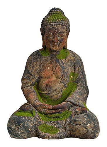 Worldconnection XXL Antiker Buddha grau/grün Garten Deko Figur Skulptur Feng Shui Meditation